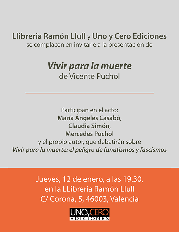 Presentación de la novela Vivir para la muerte de Vicente Puchol en la librería Ramón Llull